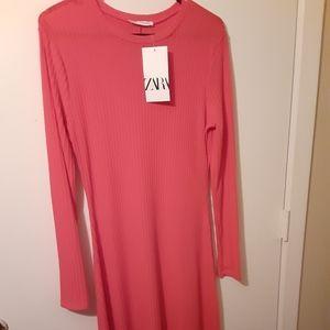 Ribbed Grapefruit-Red Zara Midi Dress